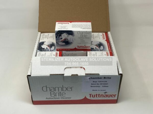 This is an open box view of a case of 12 boxes of Chamber Brite Powder
