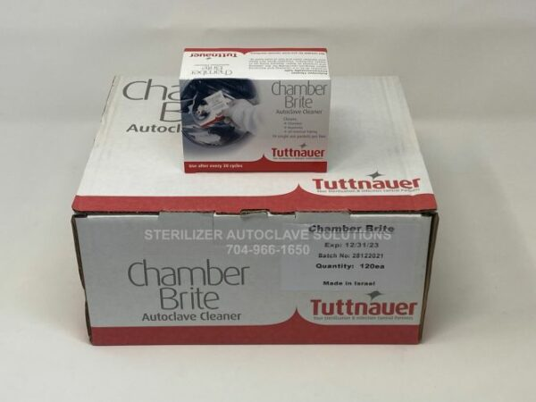 This is the front view of a case of 12 boxes of Chamber Brite Powder