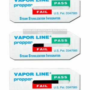 This is set of Propper Vapor Line Steam Sterilization Type 5 Indicators showing different levels of pass/fail indication.