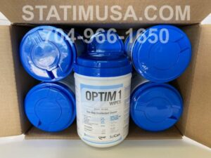 This is a case of Optim1 Disposable Disinfectant Cleaner Wipes