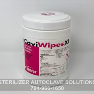 A container of Metrex CaviWipes XL Disinfectant Towelettes C-CWXL-65 (65 XL wipes)