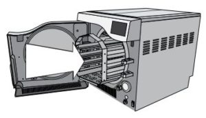 Inserting a chamber rack inside of a Scican Statclave G4 chamber autoclave
