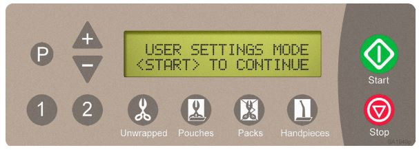 This is the user settings screen on a Midmark Ritter M11, M9D, and M9 autoclave