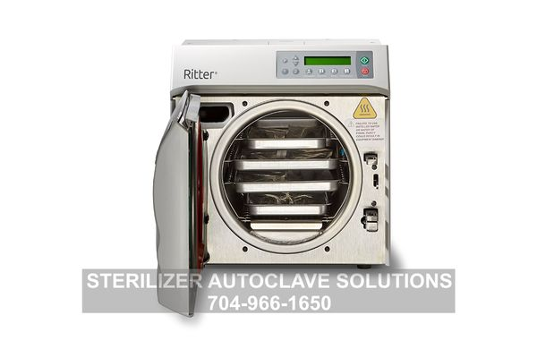 This is the new Ritter/Midmark M9 Steam Sterilizer with trays in the rack