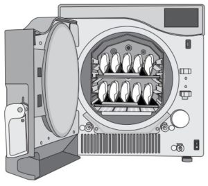 A Scican Statclave G4 chamber autoclave with a full rack of wrapped instruments