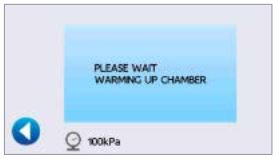 Statclave G4 chamber warming up display