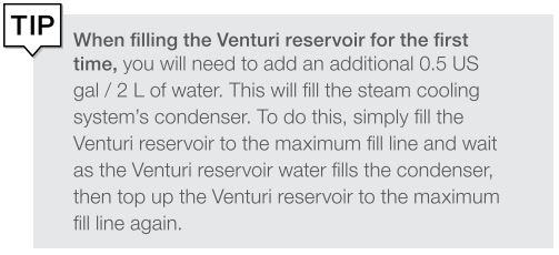 A tip for filling the venturi reservoir the first time on a scican statclave g4