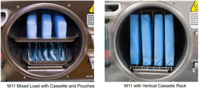 Two more possible pouch configurations for the Midmark M11 Self-Contained Steam Sterilizer
