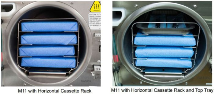 Two of the possible pouch configurations for the Midmark M11 Self-Contained Steam Sterilizer