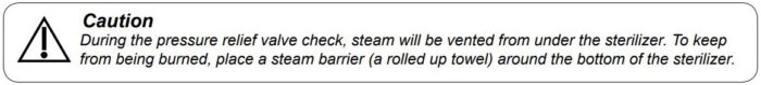 Caution warning that steam will be vented during the pressure relief valve check.
