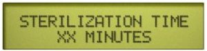 This is the sterilization time programming display on the Midmark Ritter sterilizer