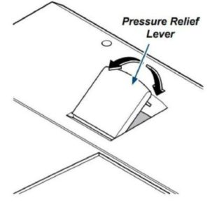The location and movement of the Midmark Ritter M9 M9D and M11 pressure relief lever.