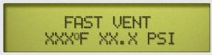 """This is the digital display showing that the current cycle is at the """"Fast Vent"""" point."""