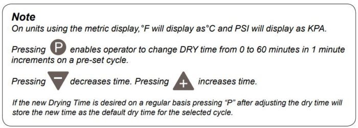 A note from Midmark explaining the display on metric units and some cycle parameters