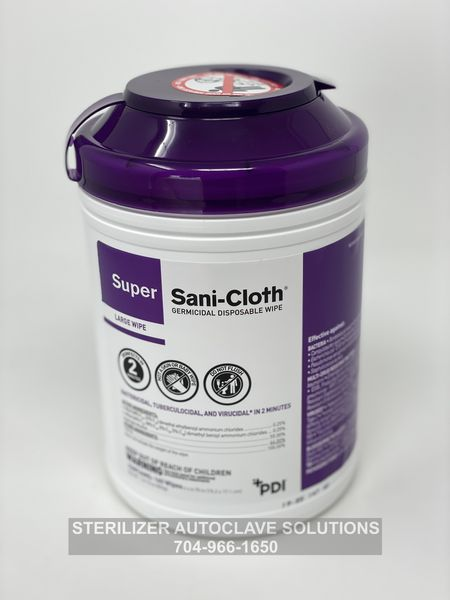 Container of 160 Super Sani-Cloth Germicidal Disposable Wipes.