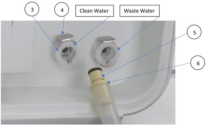 How to connect to the mineral-free and waste-water reservoirs on the Tuttnauer T-Edge Steam Sterilizer