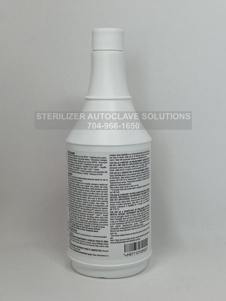 The back of a 24 oz spray bottle of Metrex CaviCide surface disinfectant decontaminating Cleaner.