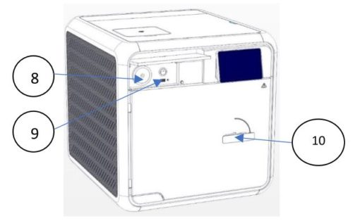 This shows the position of the Tuttnauer T-Edge's Air Filter, USB Socket, and Door Handle.