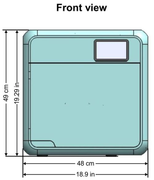 This is the front view of the Tuttnauer T-Edge showing the overall dimensions