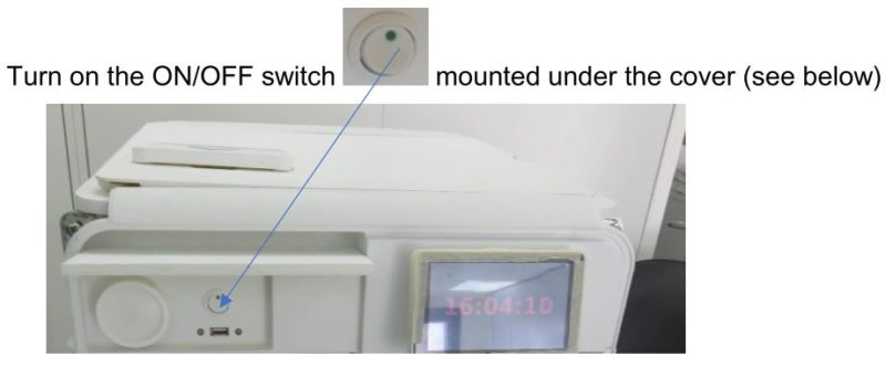 This is the location of the ON/OFF switch on the Tuttnauer T-Edge Steam Sterilizer