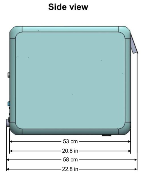 This is the side view of the Tuttnauer T-Edge showing the overall dimensions