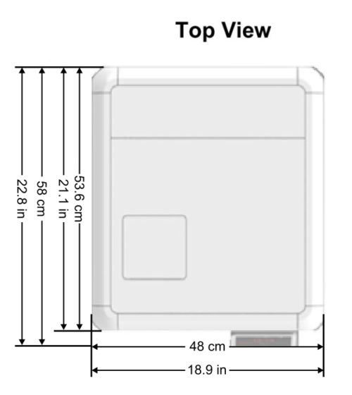 This is the top view of the Tuttnauer T-Edge showing the overall dimensions
