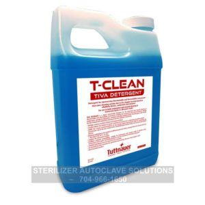 This is the front of a 1 liter bottle of Tuttnauer T-Clean Tiva Detergent