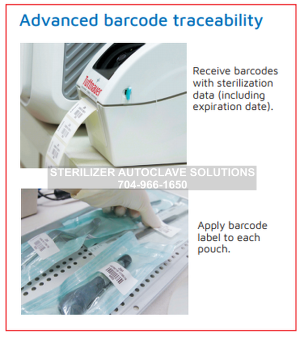 This shows the capabilities for advanced barcode traceability with the Tuttnauer T-Edge Chamber Autoclave