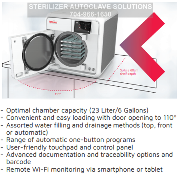 This shows some of the features of the Tuttnauer T-Edge Chamber Autoclave