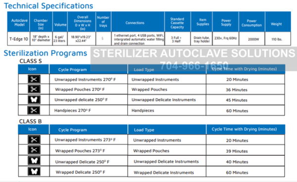 This is the spec and cycle program sheet for the Tuttnauer T-Edge Chamber Autoclave