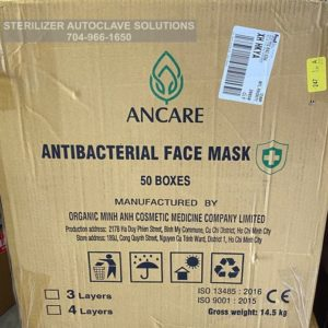 This is a case of 2500 of Ancare Medical surgical grade 3-ply antibacterial face masks.