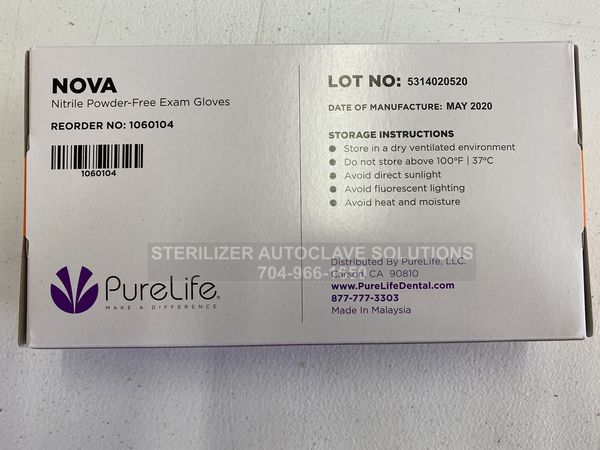 This is the bottom of a box of Large Size Nova Nitrile Exam Gloves shown from the bottom