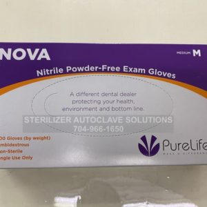 This is the top of a box of Medium Size Nova Nitrile Exam Gloves.
