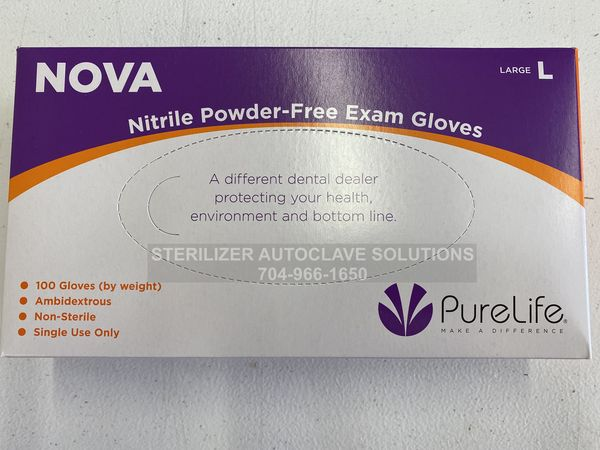 This is the top of a box of Large Size Nova Nitrile Exam Gloves.