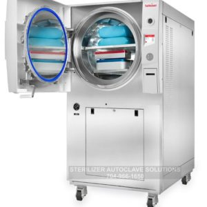 Tuttnauer 5075HSG Pre Post Vacuum Autoclave (Floor Sterilizer) with the door open.