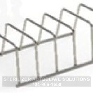 This is an angled view of a Midmark M9 or M11 5 slot pouch rack.