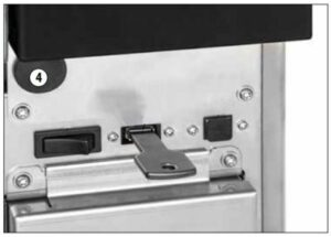 This shows the emergency door release access for the Tiva 2 washer disinfector