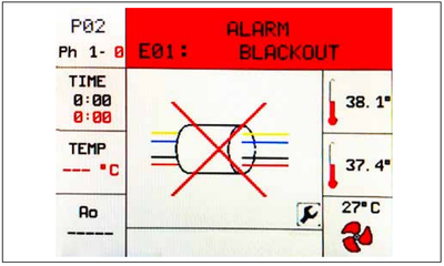 This is the Tuttnauer Tiva 2 display screen showing an alarm message