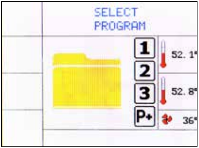 This is the Tuttnauer Tiva 2 display screen for selecting programs