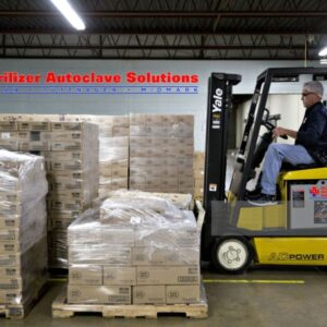 "This is a forklift loading a pallet of 45 cases of MBS MedTech 6"" x 6.75"" Germicidal Disposable Wipes"