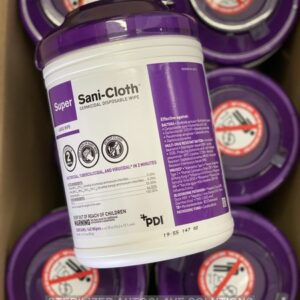 This is a case of 12 containers of 160 Super Sani-Cloth Germicidal Disposable Wipes.