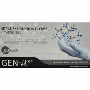 This is the top of a box of Gen-X Nitrile Exam Gloves.