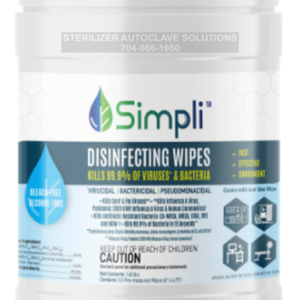 This is a cannister of MBS Simpli Disinfecting Wipes