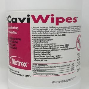 """The front of a container of Metrex CaviWipes Disinfectant 6"""" x 6.75"""" Towelettes"""